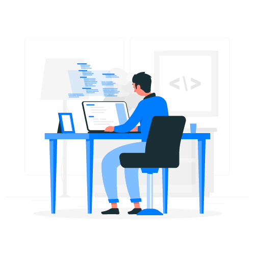 illustration of character working at a desk
